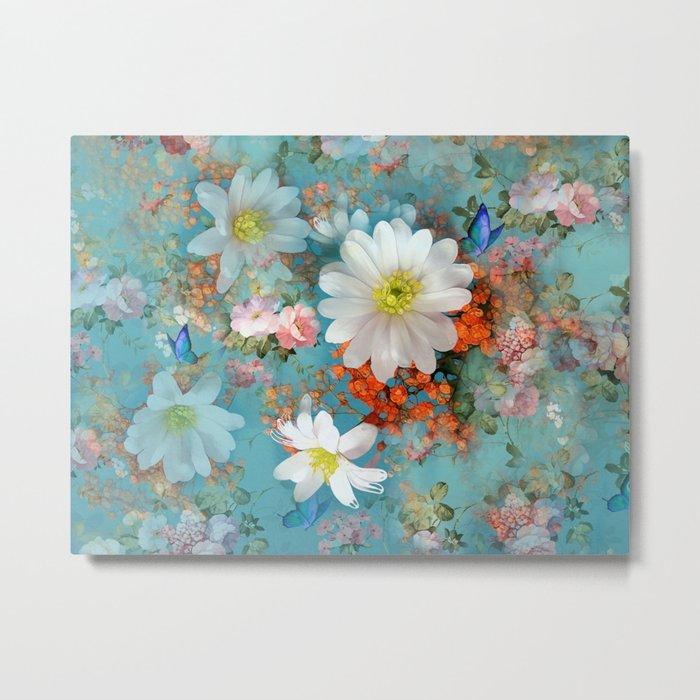 romantic flowers and butterflies Metal Print