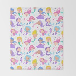 Pretty Mermaids Throw Blanket