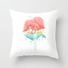 Whale Island Throw Pillow