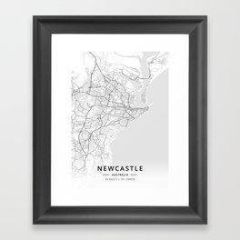 Newcastle, Australia - Light Map Framed Art Print
