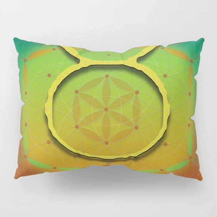 Flower of Life TAURUS Astrology Design Pillow Sham