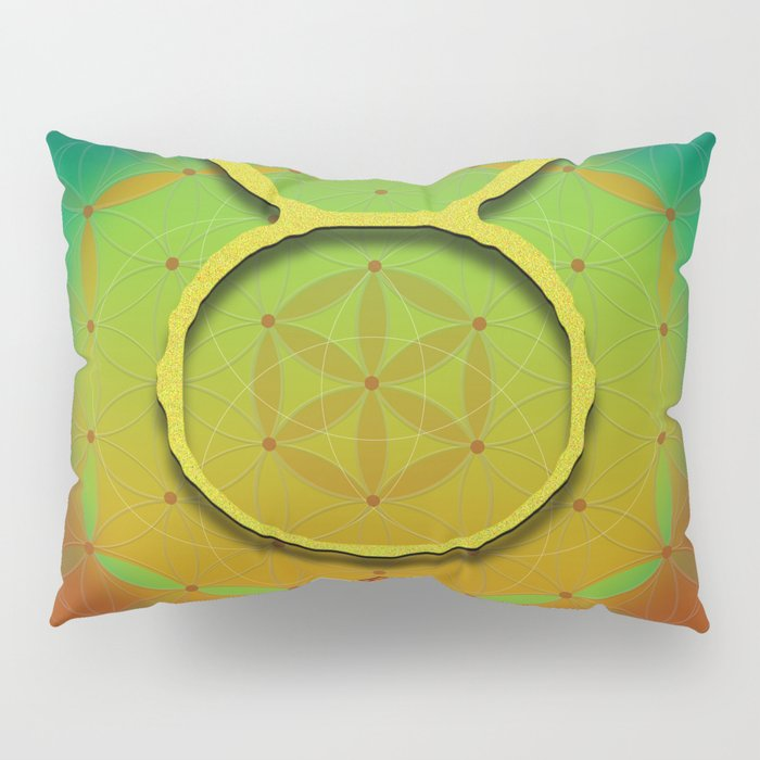 Flower of Life TAURUS Astrology Design Pillow Sham