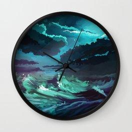moonlit stormy sea Wall Clock
