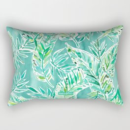 LEAFY ABUNDANCE Green Banana Leaf Print Rectangular Pillow