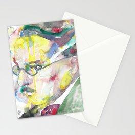 FERNANDO PESSOA - watercolor portrait.4 Stationery Cards