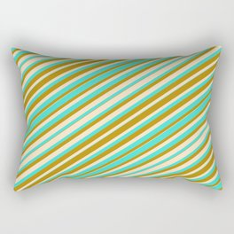 Bisque, Turquoise, and Dark Goldenrod Colored Lines Pattern Rectangular Pillow