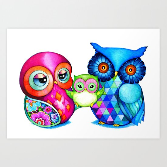 Owl Parents Art Print