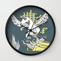 backpack Wall Clocks featuring Magical Mystery Backpack by Amy Gale