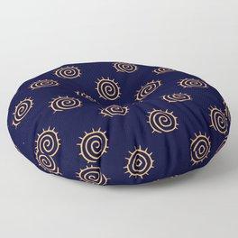 Navy Blue and yellow Swirl sun pattern Floor Pillow