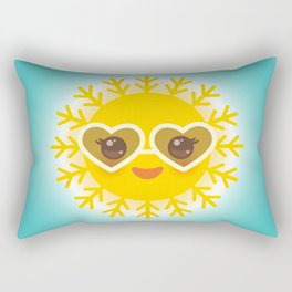 Kawaii funny sun with sunglasses pink cheeks and eyes. Hot summer day Rectangular Pillow