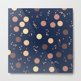 Retro Minimalism Rain Drops Against Night Sky Metal Print