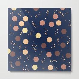 Rain Drops In The Moon Lit Night Sky - Retro Minimalism Metal Print