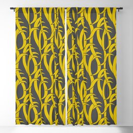 Abstract snakes pattern yellow and gray Blackout Curtain