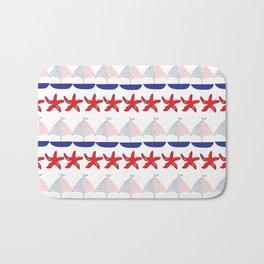 Nautical Pattern Small Sailboats and Starfishes Bath Mat