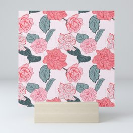 Roses and leaves Mini Art Print