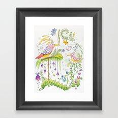 garden and birds Framed Art Print