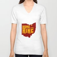 lebron V-neck T-shirts featuring Home of the King (Yellow) by Denise Zavagno
