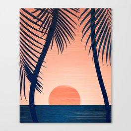 Sunset Palms - Peach Navy Palette Canvas Print