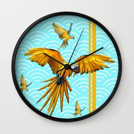 MODERN  AQUA BLUE & GOLD TROPICAL MACAWS IN FLIGHT Wall Clock