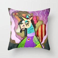 Collage Unicorn Throw Pillow