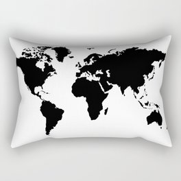 Black and White world map Rectangular Pillow