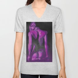 Beautiful Young Woman Wearing Plaits and Panties (Purple) Unisex V-Neck