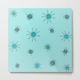 Atomic Age Starburst Planets Light Blue Metal Print