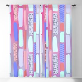 Abstract geometrical pink coral teal watercolor brushstrokes pattern Blackout Curtain
