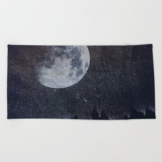 Starry moon  Beach Towel