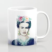 frida kahlo Mugs featuring Frida Kahlo  by South Pacific Prints