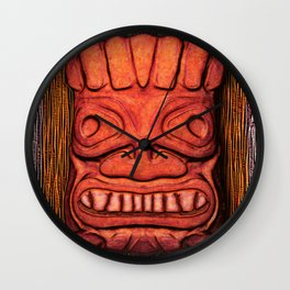Tiki Tile Red Clay Wall Clock