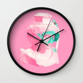 Athena statue ready for a snorkel Wall Clock