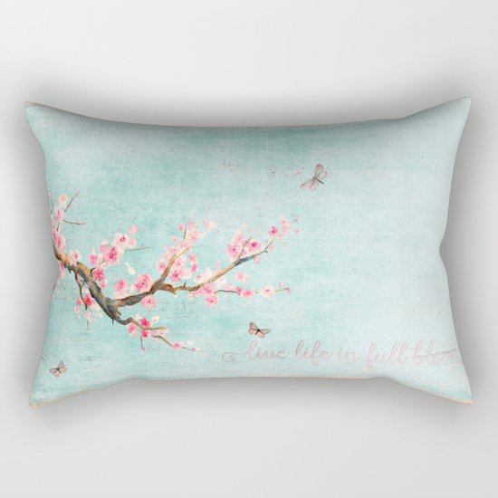Live life in full bloom - Romantic Spring Cherryblossom butterfly Watercolor illustration on aqua Rectangular Pillow