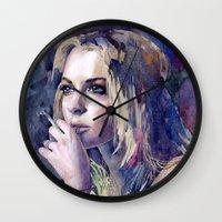 "lindsay lohan Wall Clocks featuring ""Lindsay Lohan"" by Emma Reznikova"