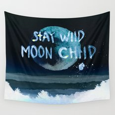 Stay wild moon child (dark) Wall Tapestry