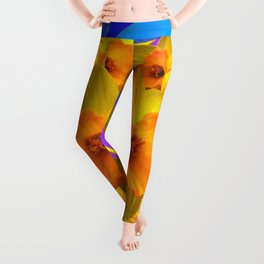 Sapphire Blue Morning Glories & Daffodils Pattern Art Leggings
