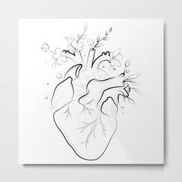 Human heart with flowers Metal Print