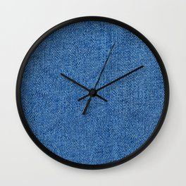 Blue Jeans Canvas Pattern Wall Clock