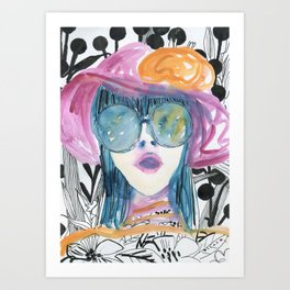 Ink and watercolor 70s girl in hat painting  Art Print