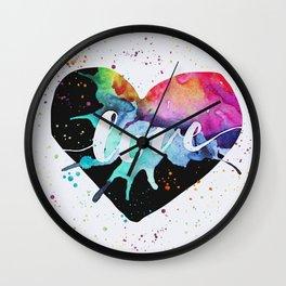 Rainbow Heart Love Watercolor Splash Wall Clock