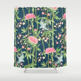 Bamboo, Birds and Blossom - dark teal Shower Curtain