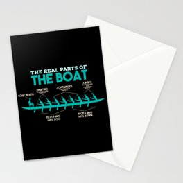 Funny Rowing Gifts - The real parts of the boat Stationery Cards