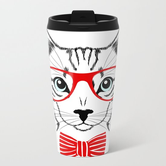 Hipster Cat with Red Glasses Metal Travel Mug