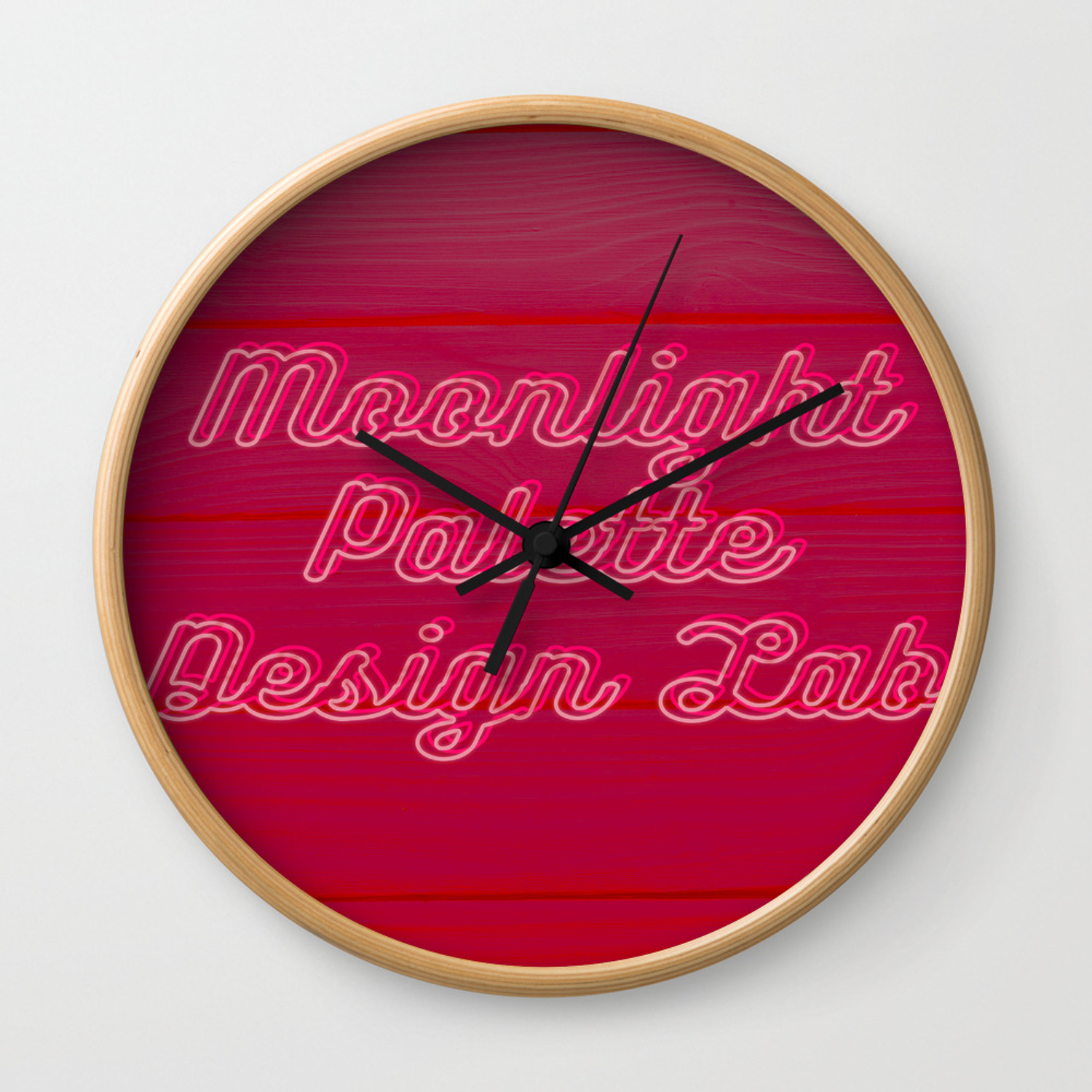 Red Neon Light Wall Clock By