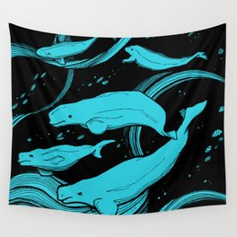 Beluga Whale Pod (Blue Variant) Wall Tapestry