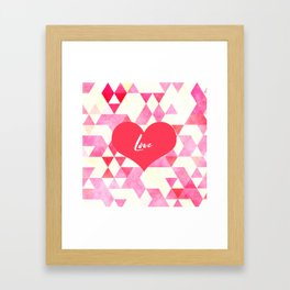 Valentine's Diamond Pattern with Love Heart Framed Art Print