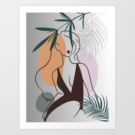 Set of tropical beauty. Women in elegant line art style. Monstera and palm leaves background. No 1/3 Art Print