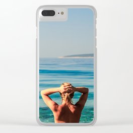 Girl at the sea in Croatia Clear iPhone Case