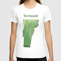 vermont T-shirts featuring Vermont Map by Roger Wedegis