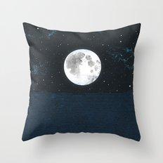 Blue Moonscape Throw Pillow